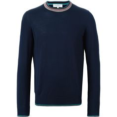 Salvatore Ferragamo contrast crew neck jumper ($360) ❤ liked on Polyvore featuring men's fashion, men's clothing, men's sweaters, blue and mens blue sweater