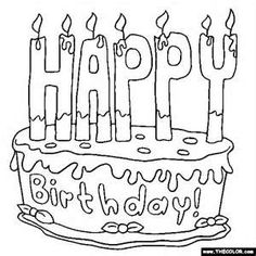 adult cake coloring pages | Happy Birthday Free Printable ...