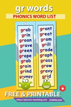 gr words - Consonant Blend Word List for the gr sound - FREE & Printable - Ideal phonics practice for older kids. Will make your phonics instruction more memorable Kindergarten Reading Activities, Phonics Reading, Teaching Phonics, Jolly Phonics, Reading Comprehension, English Grammar For Kids, English Lessons For Kids, R Words, Sound Words