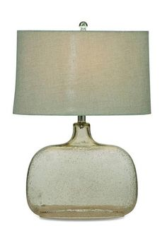 Portman Modern Glass Shade Drum Table Lamp
