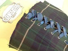 Pattern matching! Tartan corset with ribbon lacing to be changed for the right colour! By Corsets by Nasty Ginny.