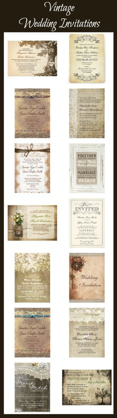Vintage Wedding Invitations with a distressed antique look. These are great for vintage themed wedding and rustic country weddings.