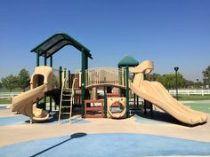 A close-up view of the playground for big kids at Mountain View Park in Eastvale, California. http://youreastvalerealtor.com/eastvale-parks/
