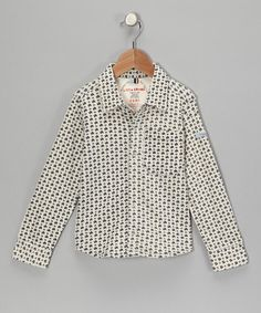 Cream & Navy Turtle Organic Button-Up - Boys by Little Shrimp on #zulily today!