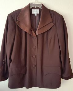 Executive Collection Womens Chocolate Brown Dressy Lined Blazer Plus 26W #ExecutiveCollection #Blazer