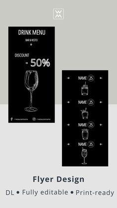 Restaurant menu online Flyer Design, Logo Design, Menu Online, Cocktail Menu, Menu Restaurant, Cocktails, Social Media, Craft Cocktails, Cocktail