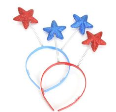"Privateislandparty.com - Patriotic Star Boppers 9133 $1.99 Patriotic Star Boppers- These 10"" Patriotic Star Boppers feature glittery red and blue stars. The stars bounce and sway with every movement of your head.  Great for all Patriotic Events especially your 4th of July party guests!"