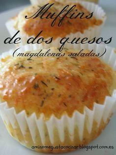 Receta muy fácil para hacer en casa unos deliciosos muffins de dos quesos (magdalenas saladas). En el blog A mí no me gusta cocinar.
