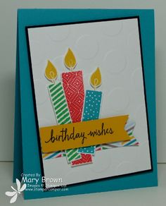 stampercamper.com - What a fun set and I am so inspired by the Cherry on the Top dsp paper stack colors...they are just perfect for a bright and happy birthday card!  This was one of my cards from my June Card Class.  All the details on my blog.  Set:  Build a Birthday