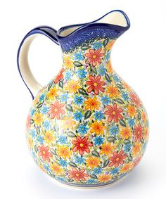 Take a look at this Bright Bouquet Oskar Pitcher by Lidia's Polish Pottery on #zulily today!