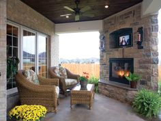 Nice Awesome Porch With Fireplace And Television!   Plan 055D 0817 |  Houseplansandmore.com