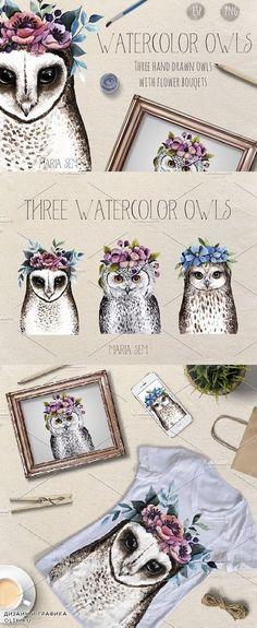 Watercolor Owls 1559736