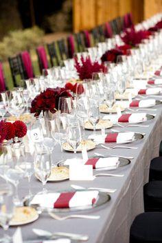 Grey linen. Deep reds. Photography By / kenviale.com, Floral Design By / fleursfrance.com, Event Planning By / suzyberberianweddings.com