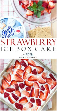 Strawberry Icebox Cake Recipe: Easy Dessert - On Sutton Place Serve this No Bake Strawberry Icebox Cake Recipe when you need a fresh-tasting, quick dessert. It's an easy, make-head sweet treat! Quick Dessert Recipes, Quick Easy Desserts, Köstliche Desserts, Easy Cake Recipes, Icebox Desserts, Oreo Dessert, Easy Meals, Strawberry Icebox Cake, Easy Strawberry Desserts