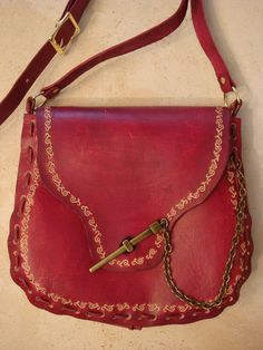 Kim Tooled Red Leather Crossbody Bag  Shoulder by HawkinsLeather, $50.00