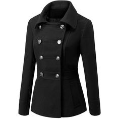 SheIn(sheinside) Black Lapel Double Breasted Woolen Coat ($35) ❤ liked on Polyvore featuring outerwear, coats, wool coat, double breasted coat, short coat, military fashion and double breasted woolen coat