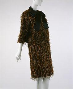 Balenciaga Evening ensemble, cotton, feathers ca. 1960