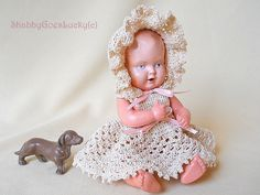 Schildkröt baby doll, 1930s vintage 8 inch celluloid blue eyed small old dollhouse baby doll with turtle mark, crotchet dress + bonnet by ShabbyGoesLucky on Etsy https://www.etsy.com/listing/227449301/schildkrot-baby-doll-1930s-vintage-8