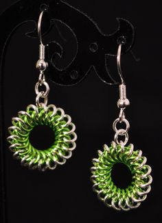 Chainmaille Spirals Earrings in Silver and Green Silver Plating