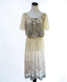 Sue Brett Floral Polka Dot Dress // 70s Vintage by CoolMintMoon, $39.00