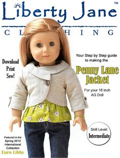 Liberty Jane Penny Lane Jacket Doll Clothes Pattern for 18 inch American Girl Dolls - PDF via Etsy