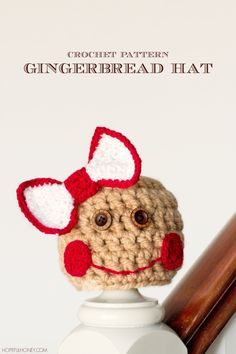 Baby Gingerbread Hat - Free Crochet Pattern  ~ Link correct and pattern is FREE when I checked on 29th March 2015   USA terminology