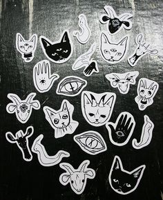 The Black Magic sticker pack features 21 small hand cut stickers. This pack includes illustrations of the occult, cats, goats, and ghosts.    - matte