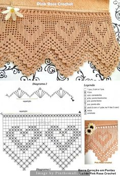 edging crochet - created on Crochet Boarders, Crochet Lace Edging, Thread Crochet, Crochet Yarn, Filet Crochet Charts, Crochet Diagram, Crochet Stitches Patterns, Diy Crafts Crochet, Crochet Home