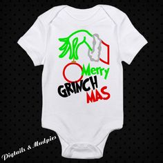 Merry Ginchmas Christmas Bodysuit~Holiday Bodysuit~Baby Bodysuit~Girl And Boy Christmas Bodysuit~Christmas Gift by PigtailsAndMudpies1 on Etsy