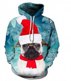 7cc0bf7b275 Winter Men s Digital Print Long Sleeve Christmas Dog Sweatshirt -  multicolor 2XL Christmas Hat