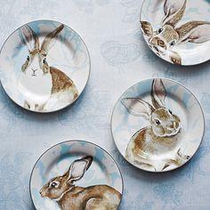Damask Easter Bunny Salad Plates, Set of 4