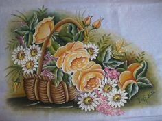 Rosas na cesta, pintadas por Luzi Batista