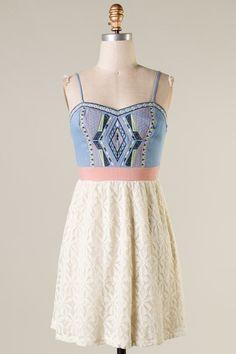denim and lace dress #swoonboutique