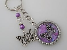Purple Butterfly Bottle Cap Keychain/ Bag by PreciousPBoutique, $5.00