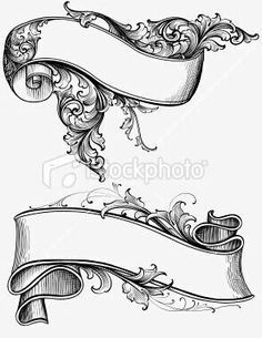Vector scrollwork banners