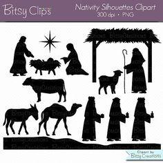 Weihnachts-Krippe Silhouettes digitale Kunst-Set von BitsyClips