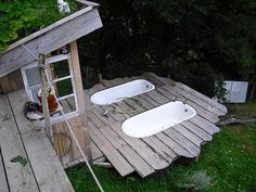 outdoor tub,bury it in the deck.