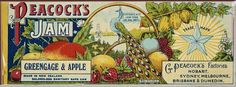 G Peacock (Firm, Dunedin) :Peacock's jam, Greengage & apple. Made in New Zealand, solderless sanitary safe can. Contents not less than 28 ozs net. [ca 1890-1920].