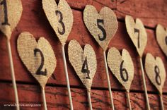 Table Numbers Burlap Heart. Set of 1 to 10. Rustic Wedding Decor. Vintage Wedding Decor. Country Decor. on Etsy, $50.00