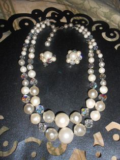 Beautiful Vintage Two Strand Beaded and Crystal by Oldworldbazaar, $39.99
