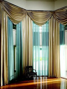 #1 curtain idea. Not in these colors or textures, instead in White lace and either chiffon or a faux silk. In an off white. Lace for looks, the silk or chiffon for privacy. The layers will add depth.