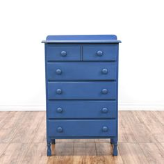 This tall dresser is featured in a solid wood with a sky blue finish. This cottage chic style chest of drawers has 5 spacious drawers, a rounded backsplash and carved sturdy legs. Perfect for storing clothing and accessories! #cottagechic #dressers #talldresser #sandiegovintage #vintagefurniture