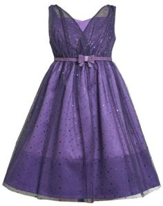 Bonnie Jean Girls 7-16 Purple Belted Cross-Over Sparkle Dot Mesh Overlay Dress