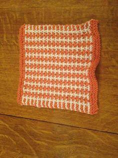 Orange & white herringbone stitch