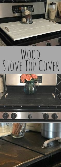 Wood Stove Cover, Kitchen decor, wood stove topper, Oven, Wood Tray, Shiplap Style Cover, Rustic kitchen decor, Farmhouse kitchen decor, Primitive kitchen, home decor #ad #woodcraftplans #PrimitiveHomes