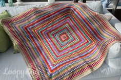 Crochet Blanket Retro Style Large Granny Square by LoopyAngCrochet