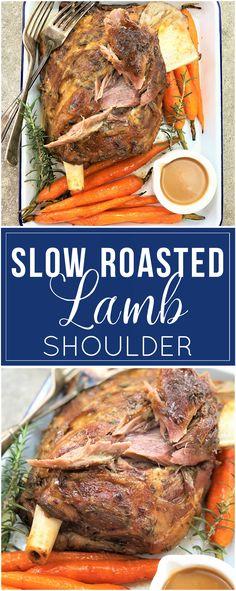 Slow Roasted Lamb Shoulder - tender, juicy fall-apart lamb   slow roasted   slow cooked   roast lamb   lamb roast   gravy   homemade gravy   gravy from scratch   roasted carrots   lamb gravy   sunday supper   #sundaysupper   sunday roast