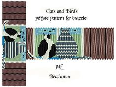 Peyote Pattern for bracelet: Cats and Birds- INSTANT DOWNLOAD pdf,  a vertical and horizontal way
