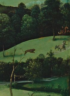 detail of Landssape with St. Jerome,  1516. by Joachim Patinir, Northern Renaissance. Museo del Prado