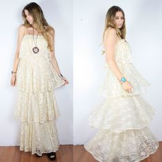 Vintage 70s Young Edwardian Tiered Cream Lace by dreamingneon, $198.00